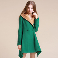 2013 High Quality Branded Autumn Winter Women's Woolen Outerwear Solid Personality Hooded Long Style Wool Coat G6176