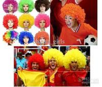 Wholesale - Custom 305PCS* Party wigs Cheerleaders wig fans Rainbow Afro Clown Costume Football Fan Wig Hair
