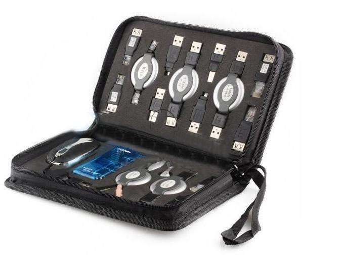 2013 New PC Portable Travel Kit Bag 17PCS Laptop Tool Kit USB Hub Bag Mouse Earphone Card Reader(China (Mainland))