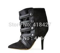 designer brand shoe Isabel marant gladiator high heel boots black ankle bootie for women