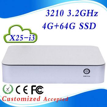 Support win 7 XP system X25-I3 core I3 4G RAM 64G SSD thin client hdmi linux mini pc ubuntu desktop pc Oem/odm