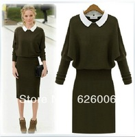 2013 autumn/winter female dresses knit long-sleeve render  package hip skirt tall waist cultivate one's morality