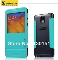 BASEUS Brand pc back + pu leather case S View flip cover For Samsung Galaxy Note 3 iii N9000, with retail box, DHL Free shipping