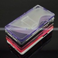Dual Color S Line PC TPU Hybrid Hard Stand Back Cover Case for Sony Xperia Z1 L39h Honami,Mix Colors 100pcs/Lot