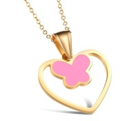 18 k gold plated titanium steel necklace for girl charm lovely butterfly pendant necklace korea style jewelry wholesale