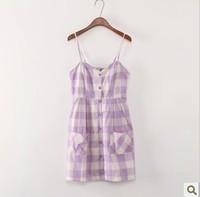 2014 new arrival F21 original single cute plaid pocket dreamy lavender AMO harness dress