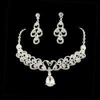 MIN.ORDER $15,shining rhinestone jewelry set for wedding 10265 flower pattern
