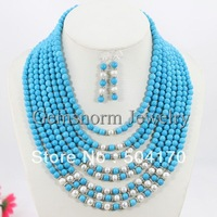 Splendid 8 Rows Costume African Jewelry Sets African Wedding Jewelry Sets Free Shipping TN021