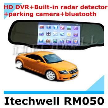 Car Rearview Mirror 5 inch GPS HD touch screen+HD DVR+Built-in radar detector+bluetooth+Multi-language speed radar 800-1000m