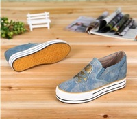 Women canvas shoes height increasing sneakers 2color shoes Free shipping slip-on spring/autumn shoes 35-39 size