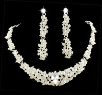 MIN.ORDER $15,shining rhinestone jewelry set for wedding 10264 flower pattern
