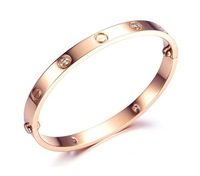 rose gold plated screw with imitation diamond bangles for women fashion titanium steel bangle wholesale bangles 2013
