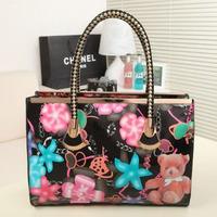 All-match ol quality women's print handbag bear shiny shoulder bag portable messenger bag Q427