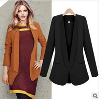 fashion women's autumn long sleeve black/green/orange turn-down collar notched slim temperament blazers Z673