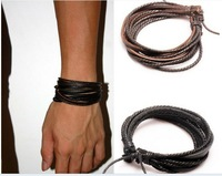 Free Shipping,2013 Fashion Jewelry Wrap Multilayer Genuine Leather Bracelet with Braided rope Unisex for Men & Women