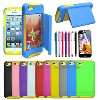 New Arrival Card Hard Shell Stand Combo Case Cover For Apple iPhone 5 5G 5S+Gift Stylus+Screen Protection Film#Yellow