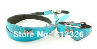 Blue Leather Bowknot Rhinestone Crystal Jeweled Pet Cat Dog Collar + Leash Set   Free Shipping