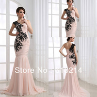 Hot Selling One-shoulder Pink Formal Pageant Gowns Black Lace Appliques Mermaid Sweep Train Chiffon Prom Evening Dresses