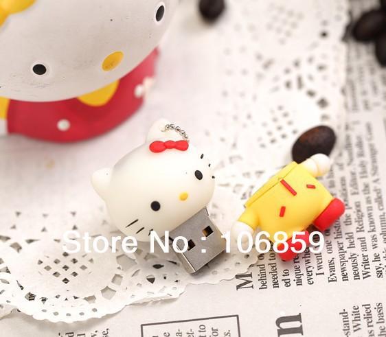 Super Cute Hello Kitty USB Flash Drives/ Usb flash memory disk Free shipping 25pcs/lot Good quality 8GB(China (Mainland))