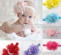 FREE SHIPPING  baby accessories baby girl hair band pretty chiffon flower headband girl hair ornament headwear pearl design 1pcs