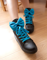 2013 autumn and winter boots flat heel lacing bow platform flat platform martin boots