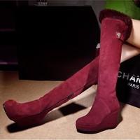 Full genuine leather scrub rabbit fur high-heeled platform slip-resistant women's autumn and winter shoes martin boots plus size