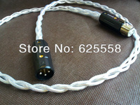 One Pair OCC Copper Silver Plated XLR Interconnect Analog Cable Rhodium HI-END