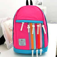 School children free shipping boy and girl lovely gift shoulder bag hit the color canvas backpack schoolbag