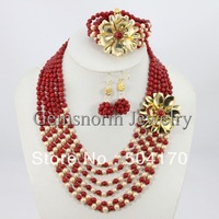 2014 New African Beads Flower Jewelry Set Red Coral Beads African Costume Jewelry Set Free Shipping CNR097