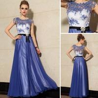 higher Bead Petals lucency collar Sheer Straps royal blue chiffon bridesmaid dresses