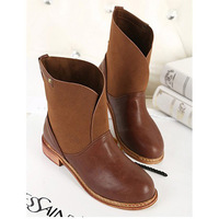 Free shipping Good Quality Autumn winter Women motorcycle boots flats Wood heel leather  Colour black brown J1407