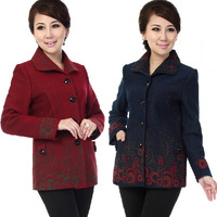 Free shipping New arrival 2014 autumn and winter female autumn outerwear slim woolen coat the elderly mother clothing C1182