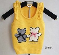 3pcs/lot 2013 Kids Knitting Cotton Vest Sweaters Dear Design for 80-100cm Kids 3 Colors for 1-3 years