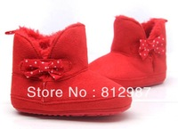 Free shipping Wholesale 2013 Fashion Adorable X'mas Red Warm Fur  Winter BB Boots/Prewalkers/Infant Shoes/Baby Girl Shoes