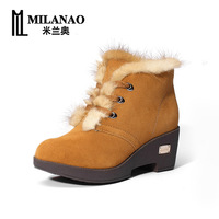 Free shipping 2013 winter women rabbit fur wedges ankle boots genuine leather plus fur wool boots casual snow shoes 35-40