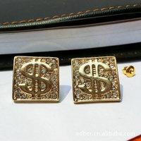 $ Sign Symbol dollar ganster Square stud earrings inlay rhinestones female gift