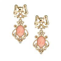 newstar fashion punk style skeleton head resin embellishments stud earrings hot pink gold jewelry