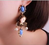 Korean women gift Angel Face Vintage Earing retro cute angel face Acrylic Funny exaggeration big pearl drop earrings