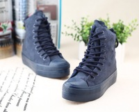 Free shipping women winter sneakers fashion flat with platforms shoes 3color navy red khaki New style shoes