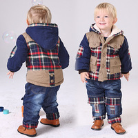 Autumn and winter children's clothing plus velvet thickening denim plaid wadded jacket set thermal