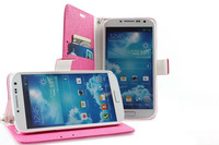 New ice Silk Stand Colorfu1 Leather Wallet Cover for Samsung Galaxy S4 I9500 with Credit card Slot Wallet + Strap Case
