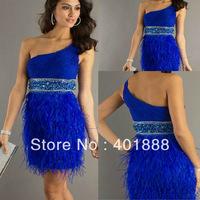 Latest One Shoulder Sequins Ostrich Feather Short Royal Blue Cocktail Dress