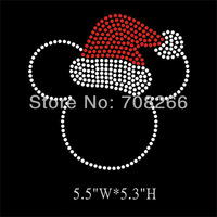 Free shipping 40pcs/lot Minnie head with Christmas Hat Iron On Rhinestone Transfers Holiday design