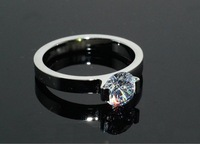 gold ring heart wedding ring 18k rose gold finger ring imitated CZ stone ring women titanium jewelry