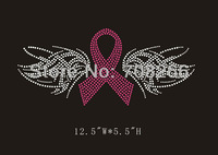 Free shipping 40pcs/lot Breast Cancer Ribbon with Wings Rhinestone Transfer Motif for T shirt
