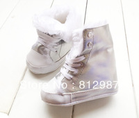 Free shipping Wholesale 2013 Fashion Amazing Bling Silver Warm Winter Fur Boots/ BB Shoes/Prewalkers/Infant Shoes