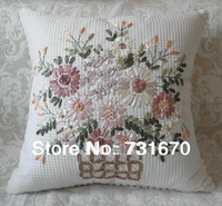 Embriodered exquisite cotton flower pillow cover decorative cushion cover for sofa 45*45cm E004