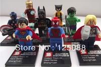 Super Heroes 8pcsThe Avengers Iron Man Hulk Batman Wolverine Thor Building Blocks Sets Minifigure Bricks building blocks Toys