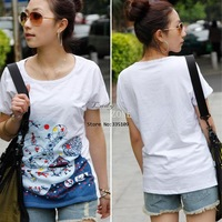 Wholesale 3pcs/lot Casual Korea Women Round Neck Floral Print Short Sleeve T-shirt Tops White drop shipping 12140