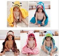 2014 free shipping Retail 1 set Top Quality!new Baby boy girl Animal hoody bathrobe infant bath towel kids fashion bath terry